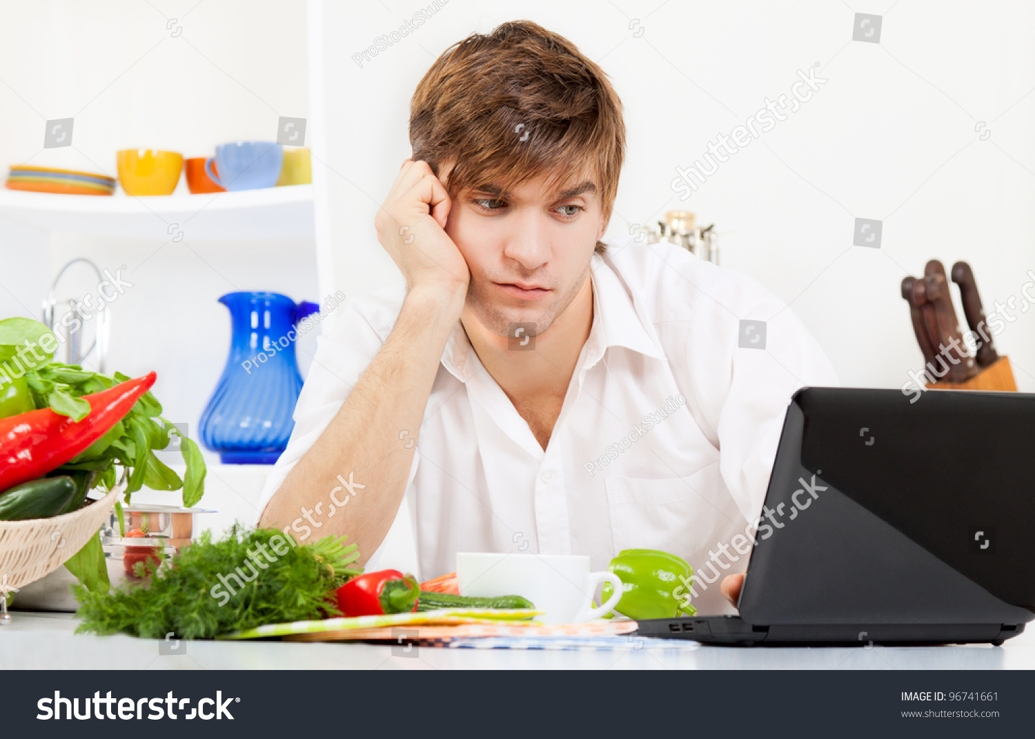 Portrait Handsome Young Sad Man Cooking Stock Photo & Image (Royalty ...