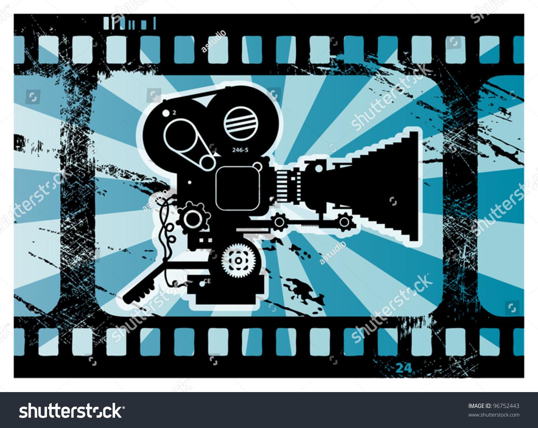 Grunge Camera Vector : Abstract grunge background movie camera vector stock vector royalty
