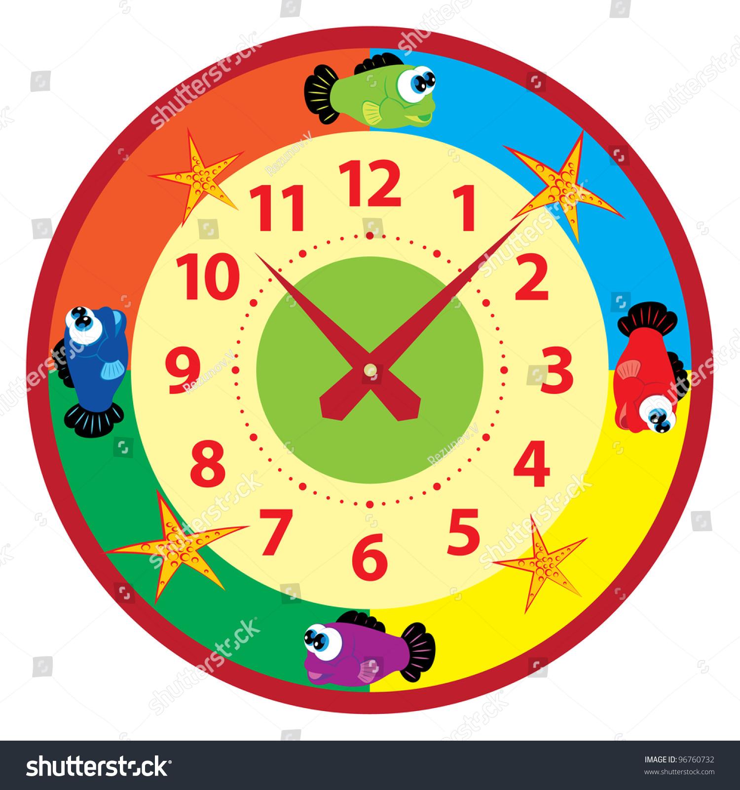 Funny Cartoon Clock Kids Stock Vector 96760732 - Shutterstock