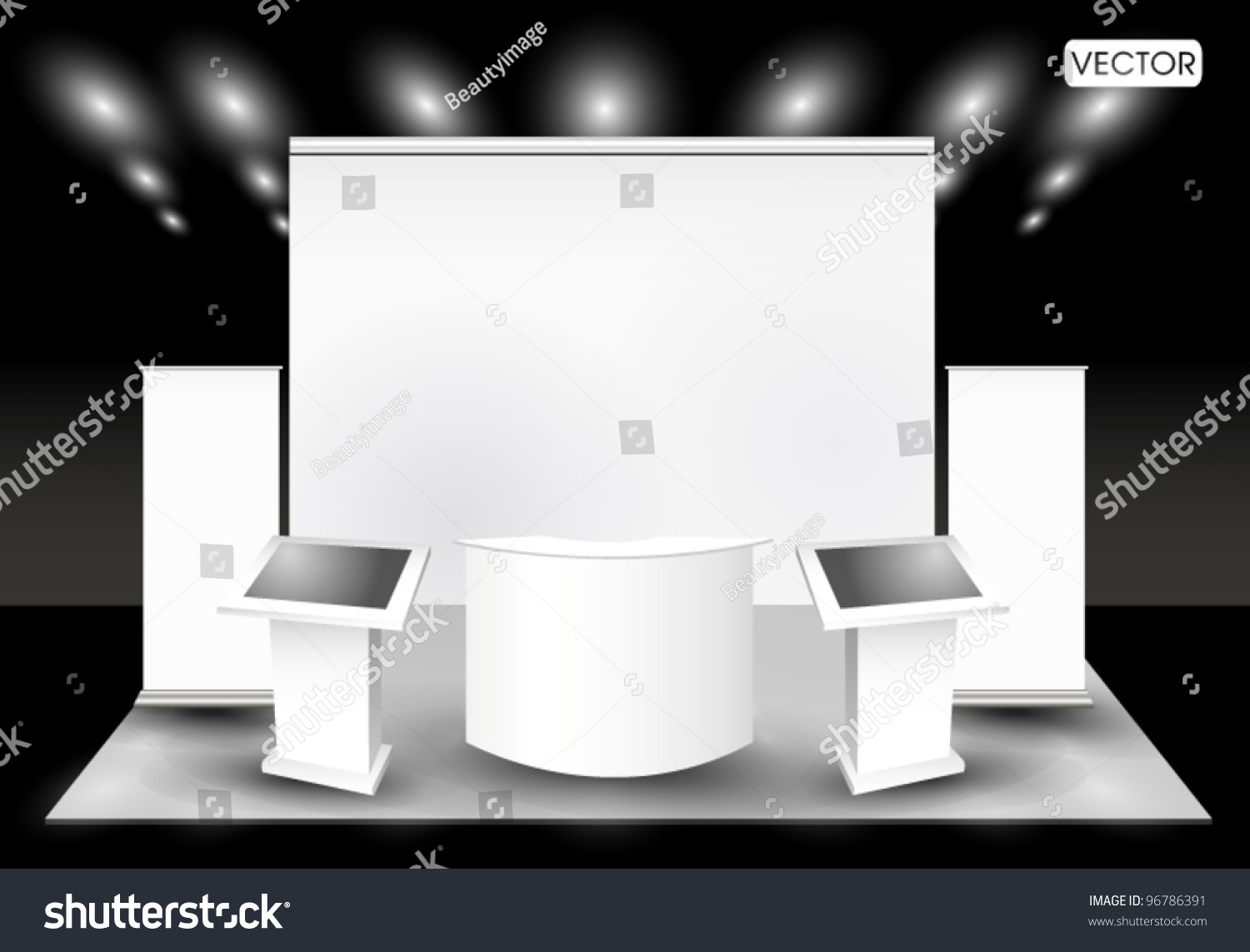 Simple Exhibition Stand Vector : Blank trade exhibition stand lcd monitor stock vector