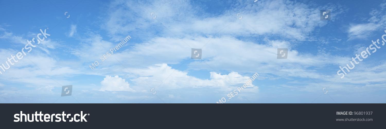 Amazing Blue Cloudy Sky Background Panoramic Stock Photo ...