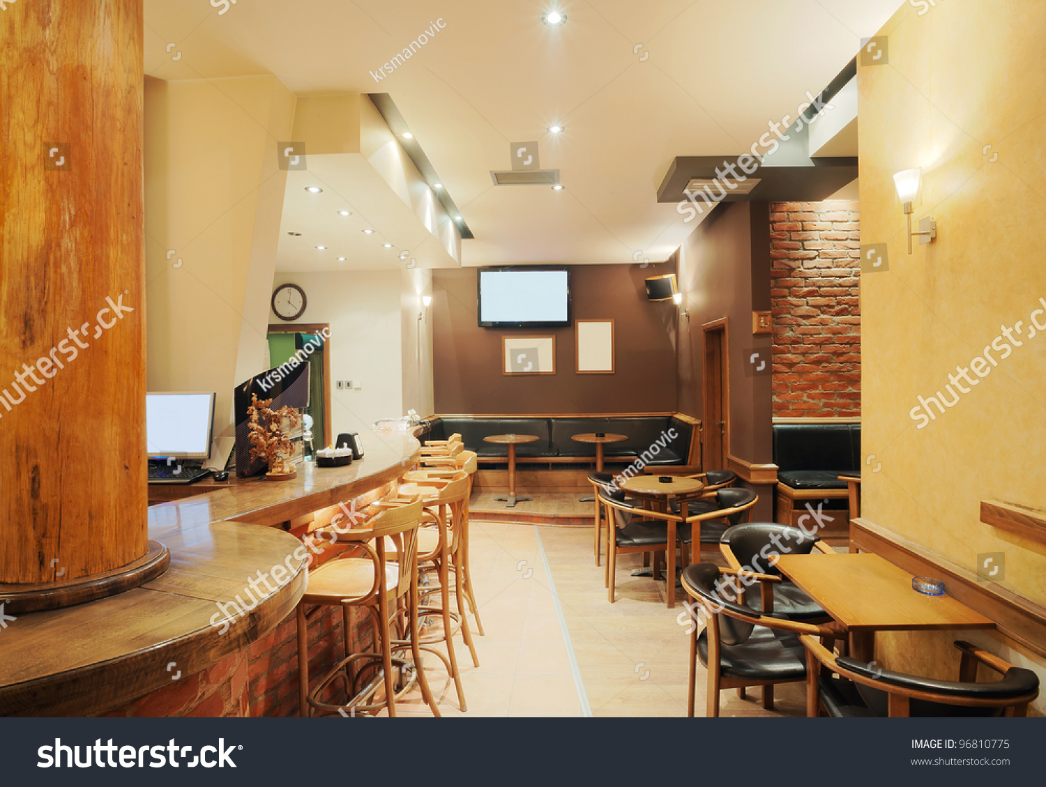 modern simple cafe interior wooden classical stock photo 96810775