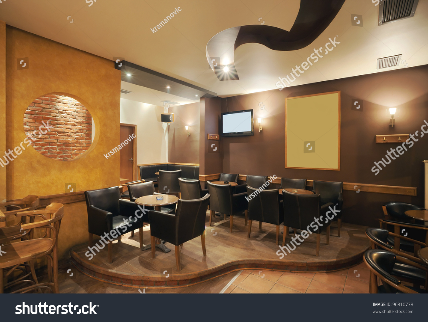 Modern Simple Cafe Interior Wooden Classical Stock Photo