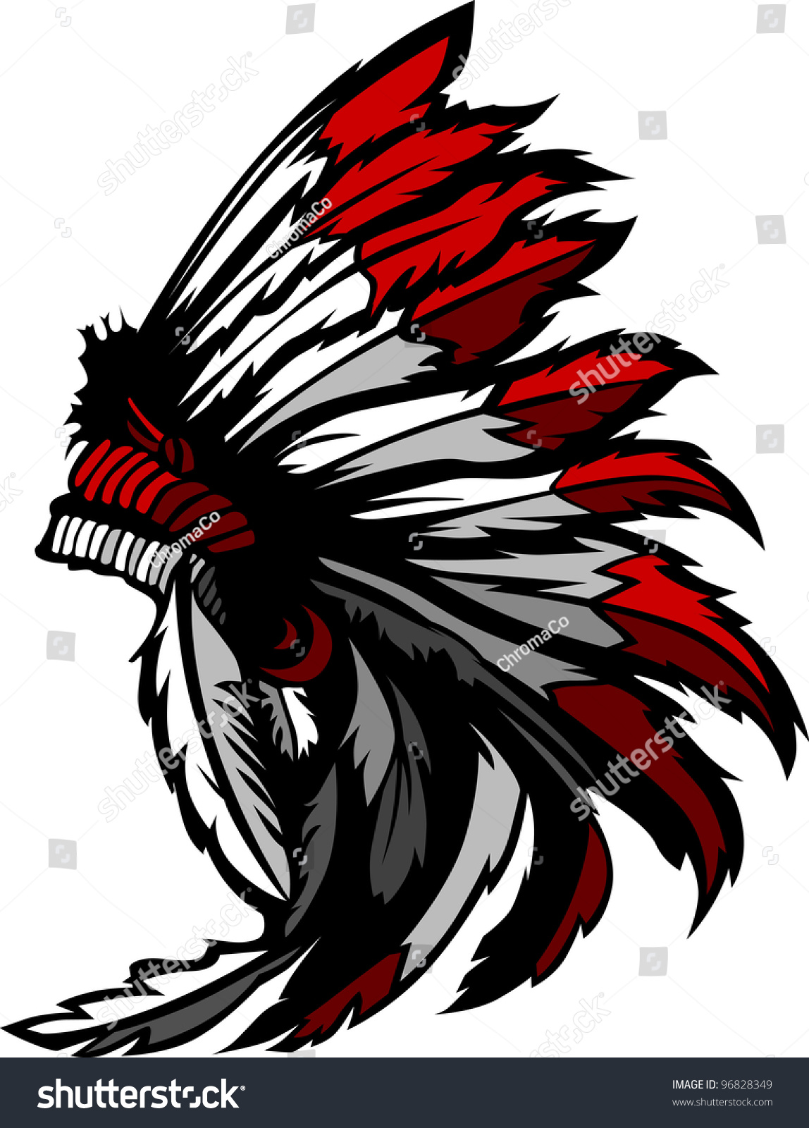 Graphic Native American Indian Chief Headdress Stock Vector ...