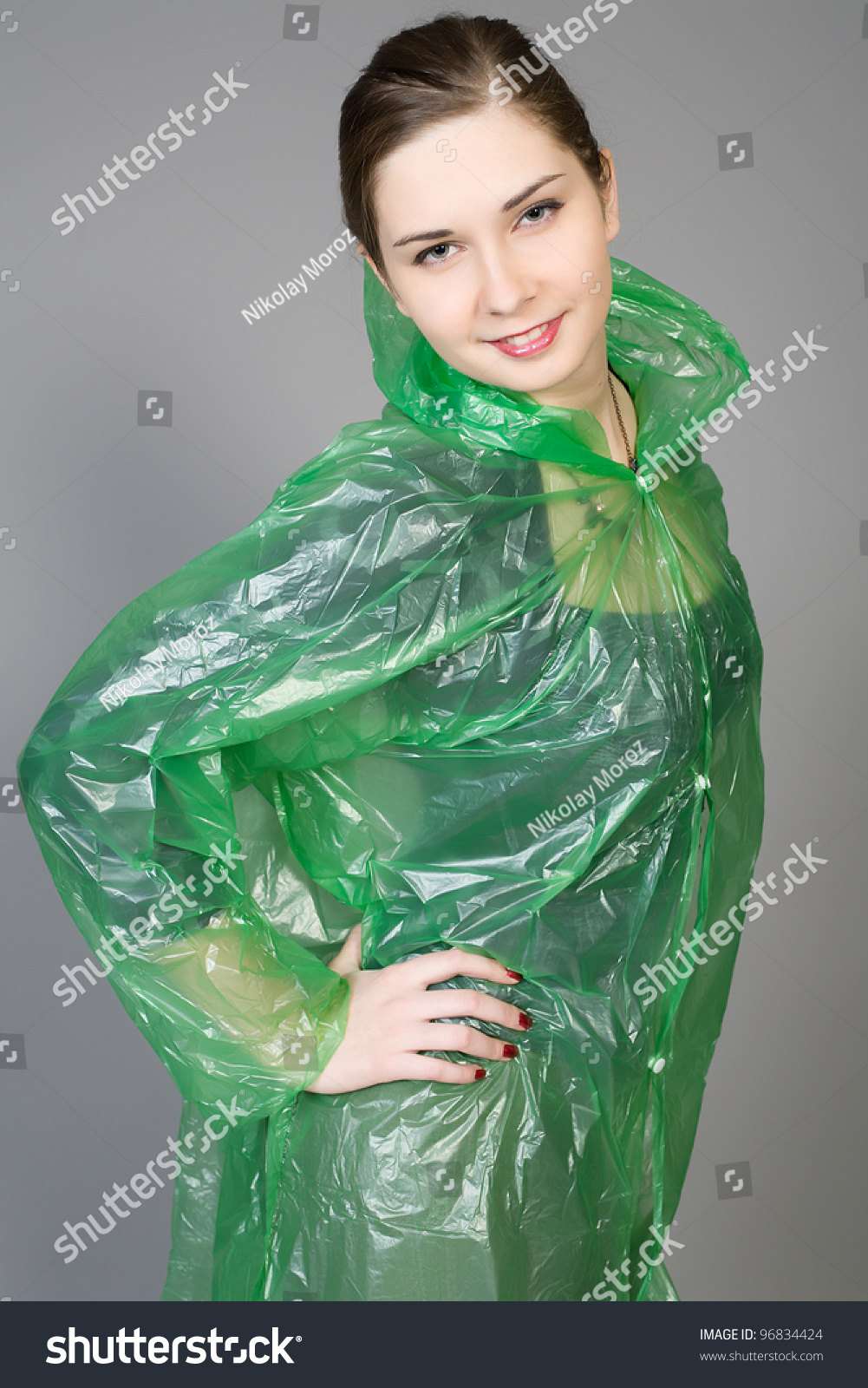 Young Woman Green Rain Raincoat Stock Photo 96834424 - Shutterstock