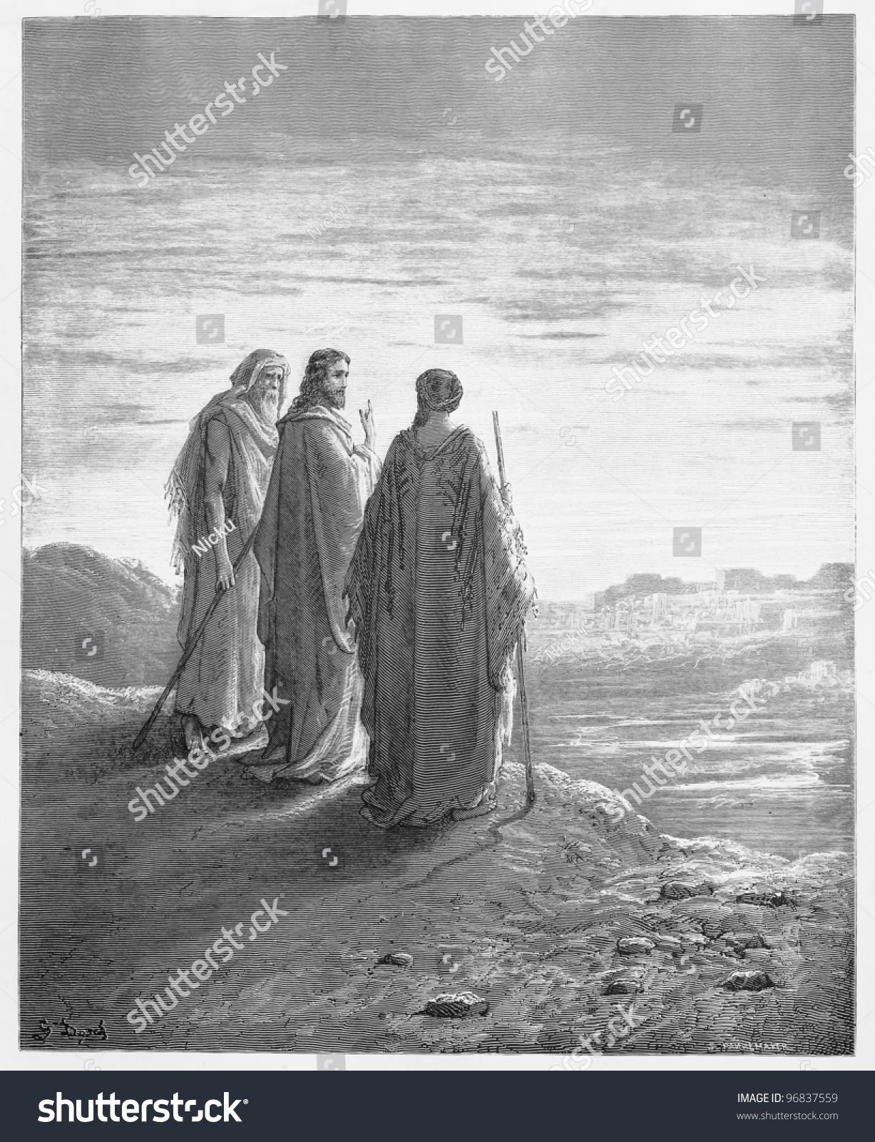 disciples encounter jesus on road emmaus stock photo 96837559