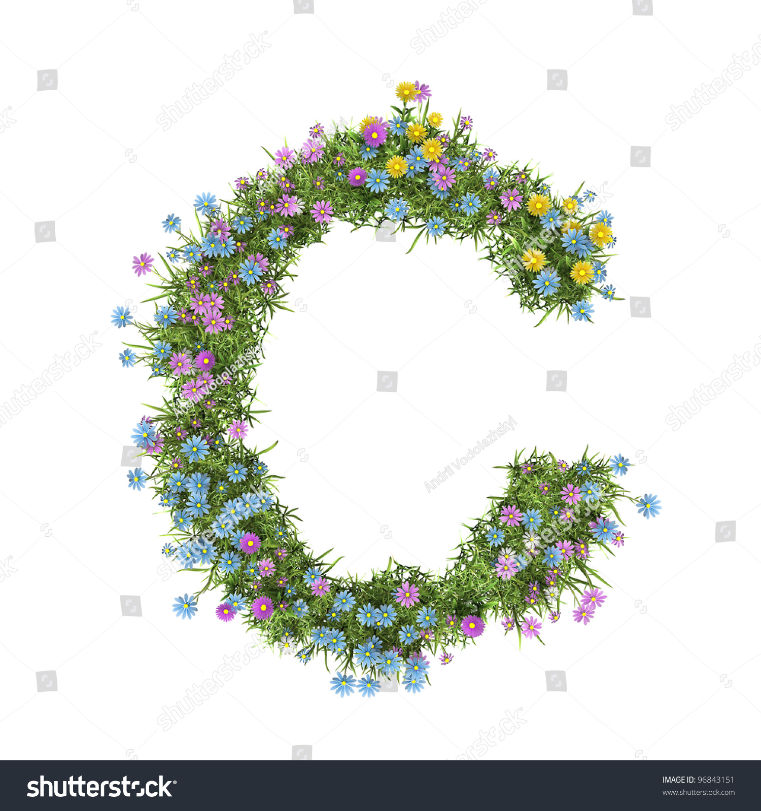 Letter C Flower Alphabet Isolated On Stock Illustration