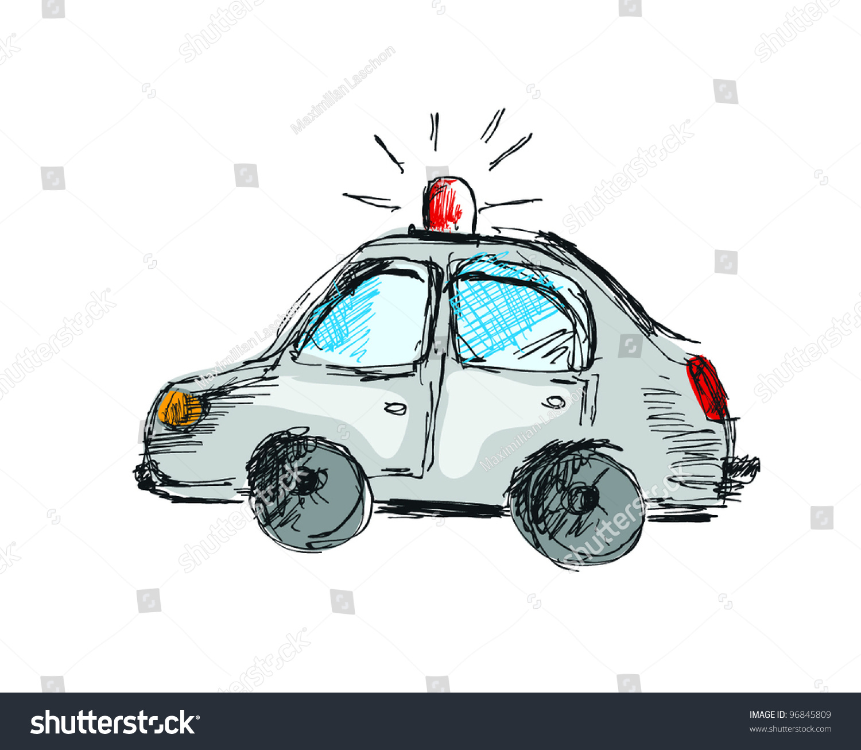 Cartoon Police Car, Free Hand Drawing Style, Original