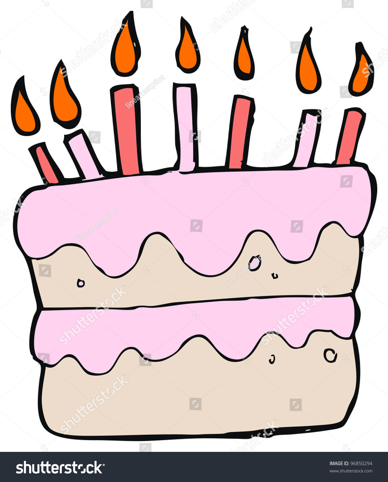 Childs Drawing Birthday Cake Stock Illustration 96850294 Shutterstock