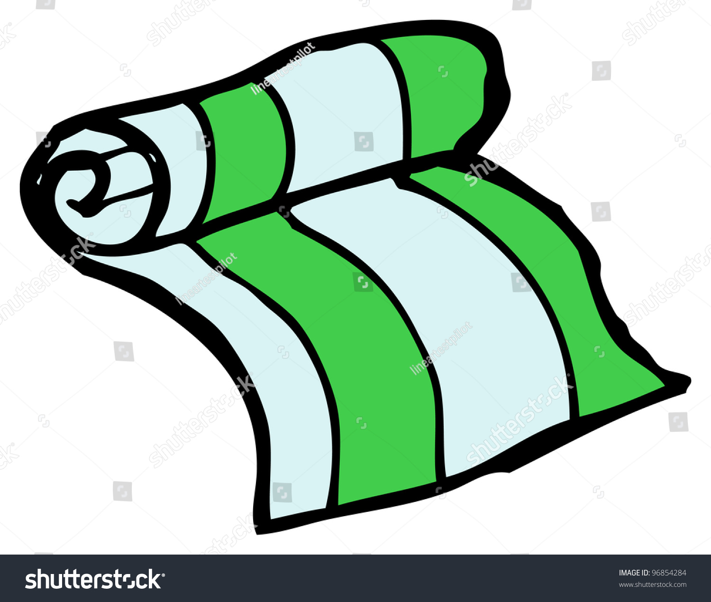 Beach Towel Clip Art: Cartoon Doodle Of A Rolled Towel Stock Photo 96854284