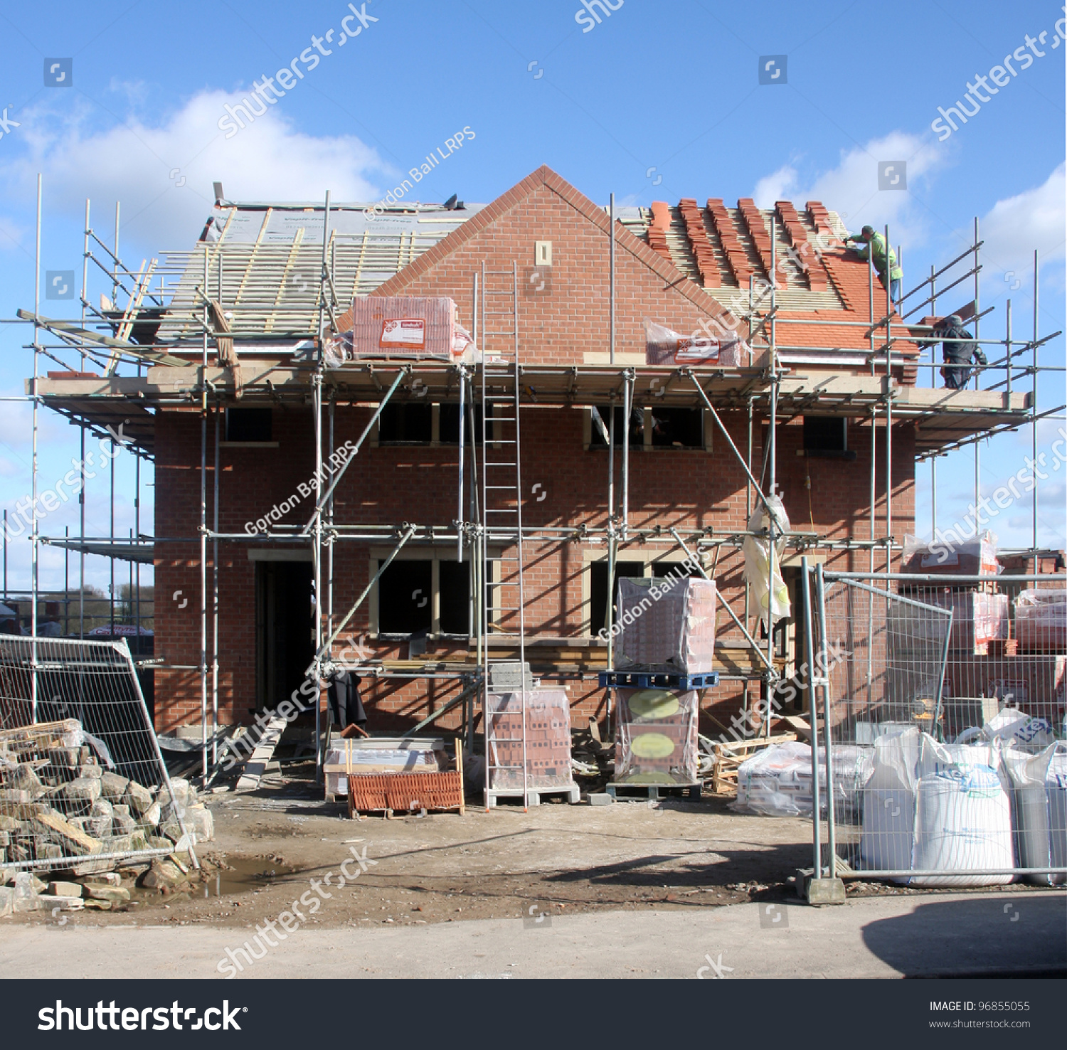 Building construction site progress new house stock photo for Home building sites