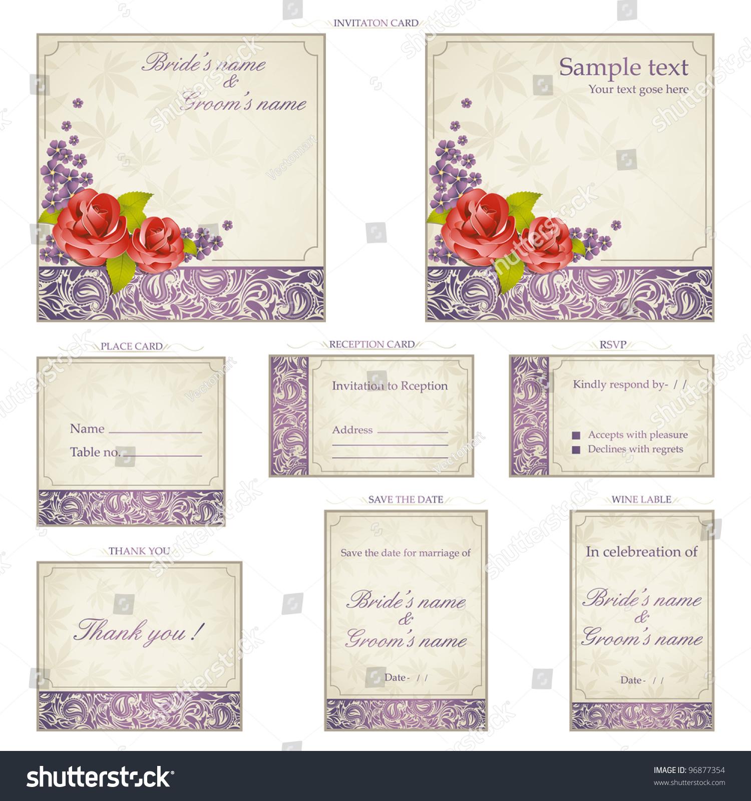 Illustration set wedding reception invitation card stock vector illustration of set of wedding reception invitation card in vintage style stopboris Images