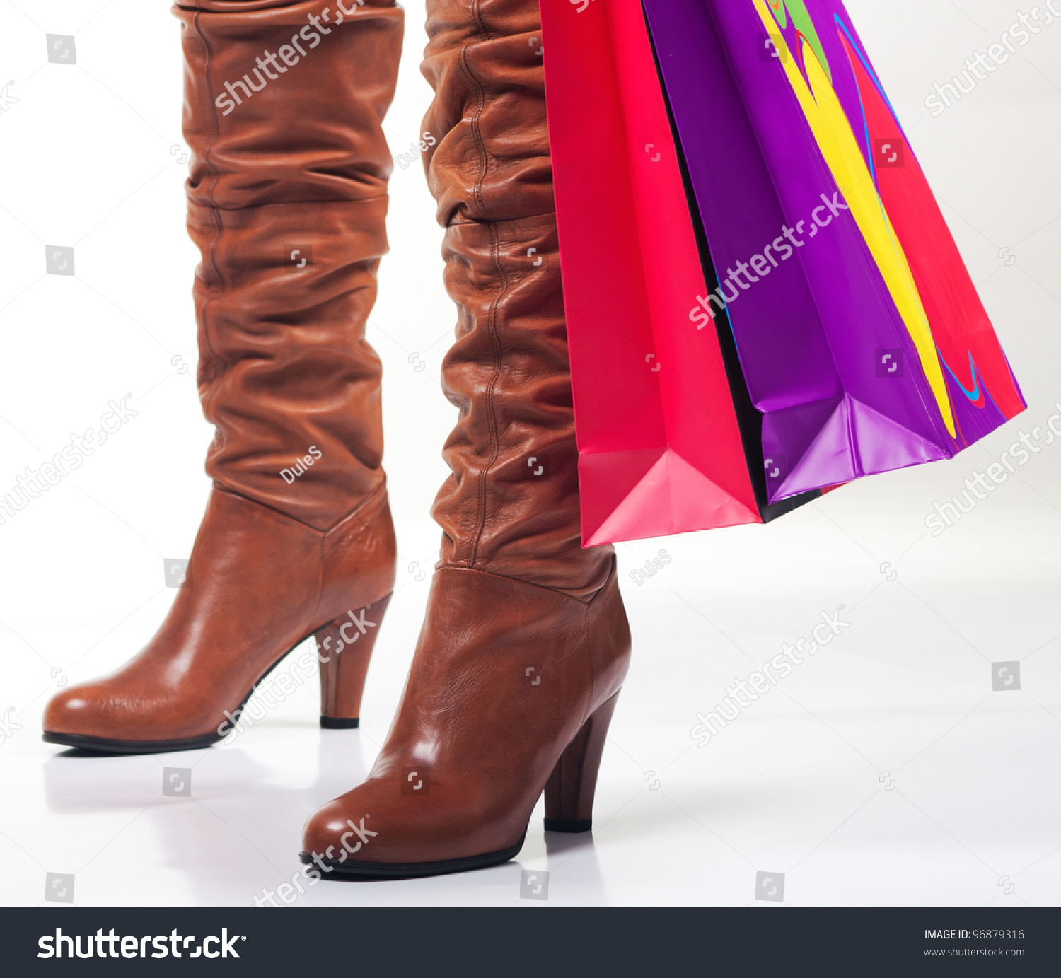 Woman Boots Shopping Bag Stock Photo 96879316 - Shutterstock