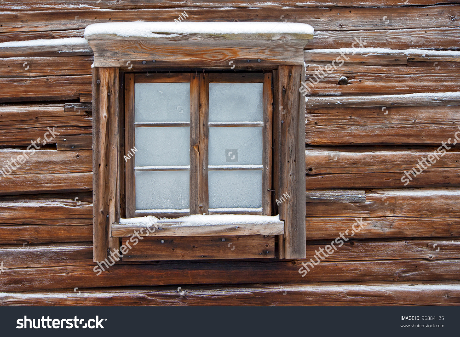 Frozen window old log cabin stock photo 96884125 for Windows for log cabins
