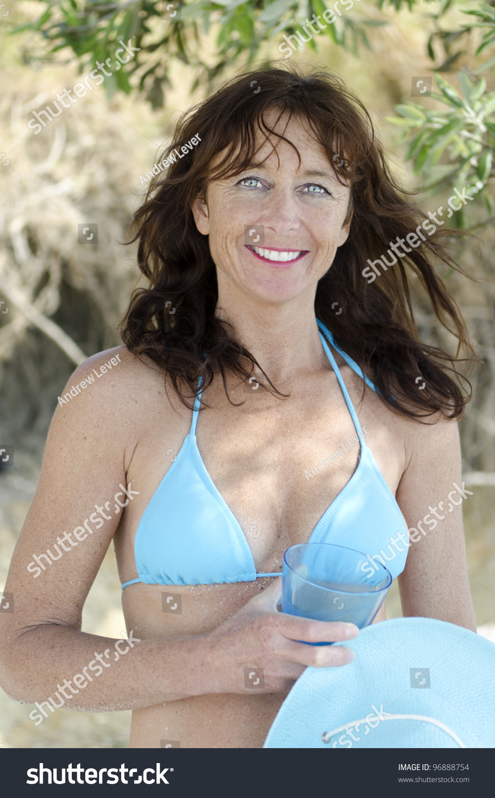 color portrait photo beautiful mature woman stock photo (royalty