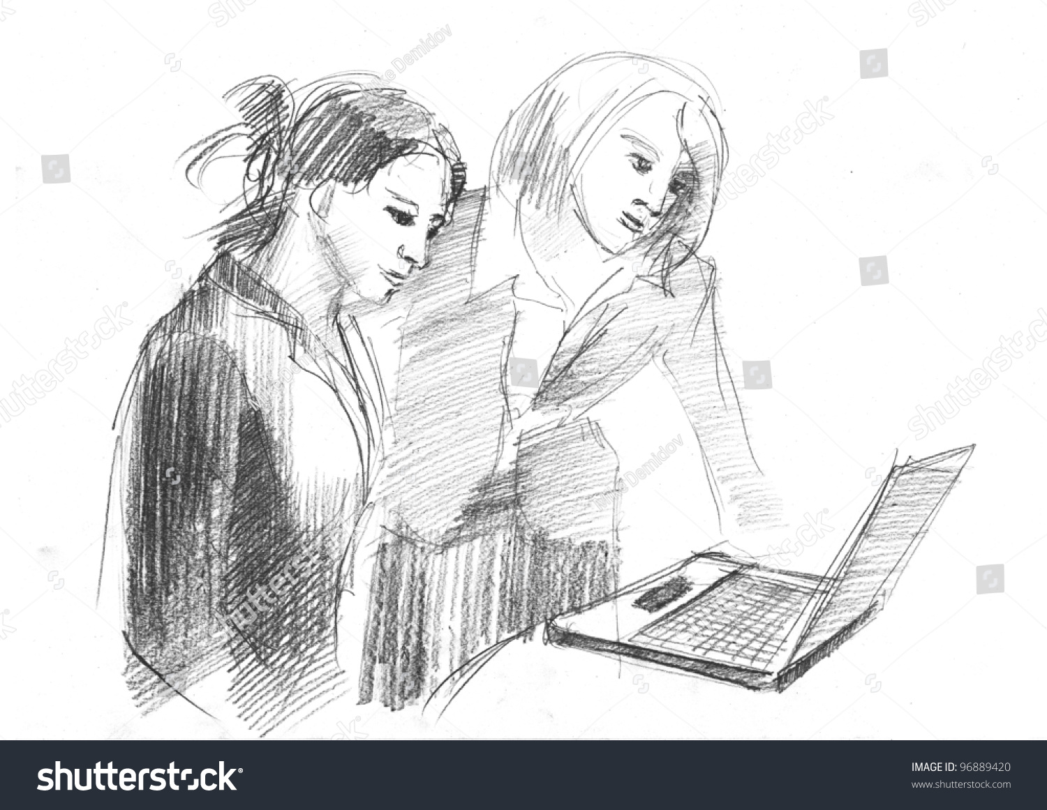 Pencil drawing of a couple women talking about work