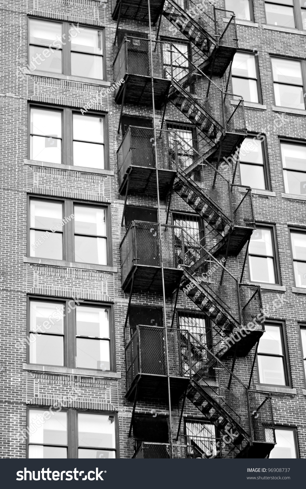 Exterior Fire Escape Stairs On Outside Stock Photo (Royalty Free) 96908737    Shutterstock