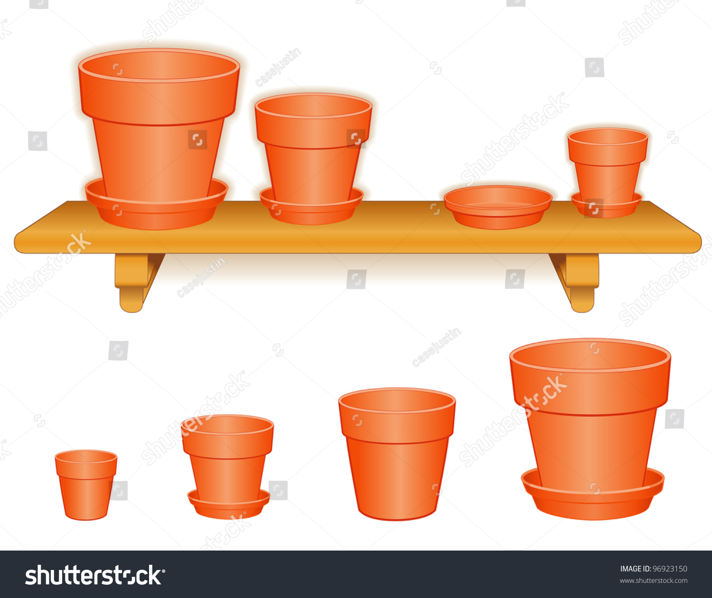 ... Ceramic Planters Clay Saucers. Flowerpots On Wood Shelf Small Medium  Stock Ilration 96923150 - Ceramic Flower Pots With Saucers - Flower