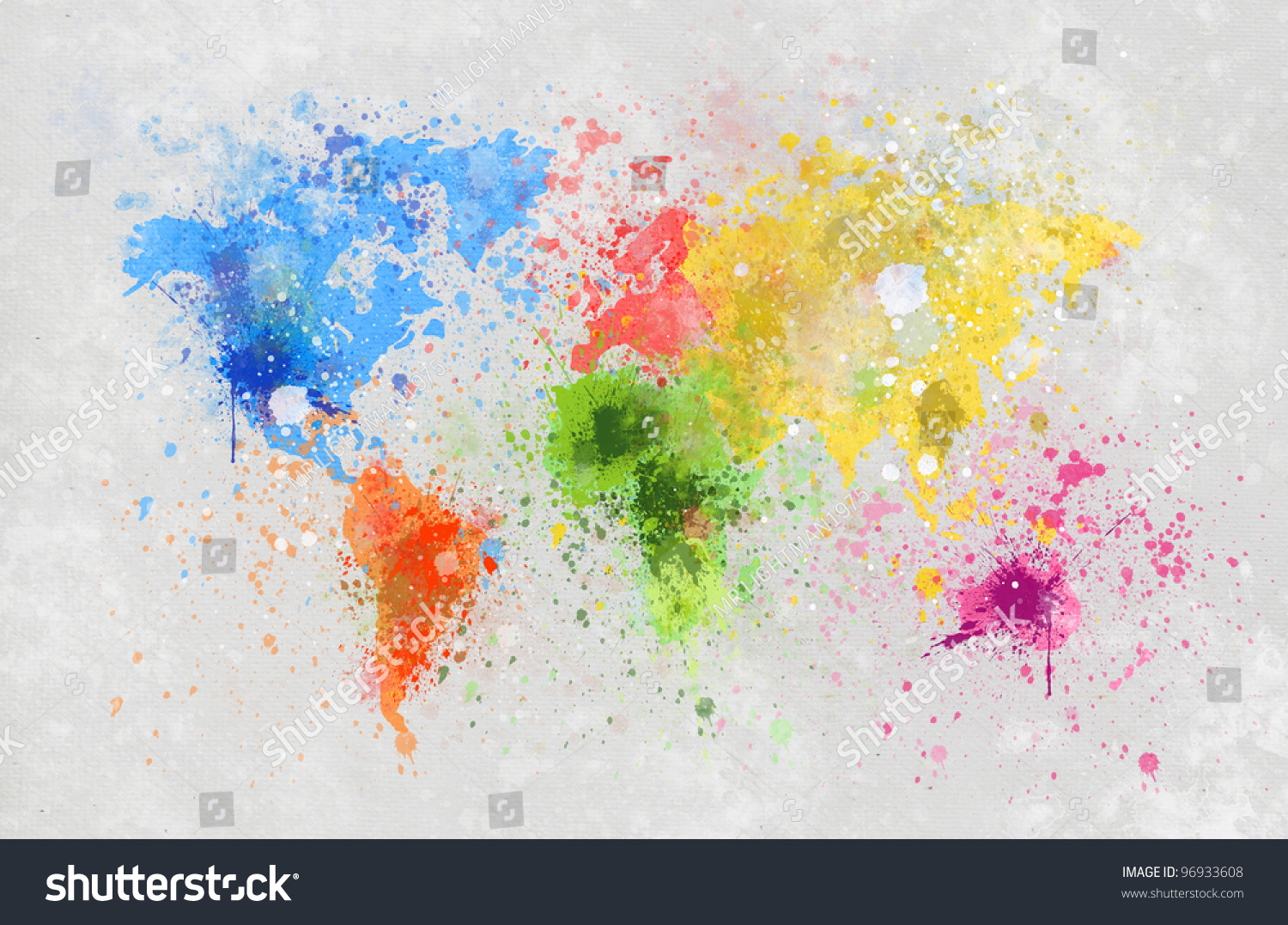 World Map Painting On Hand Made Paper Stock Photo 96933608