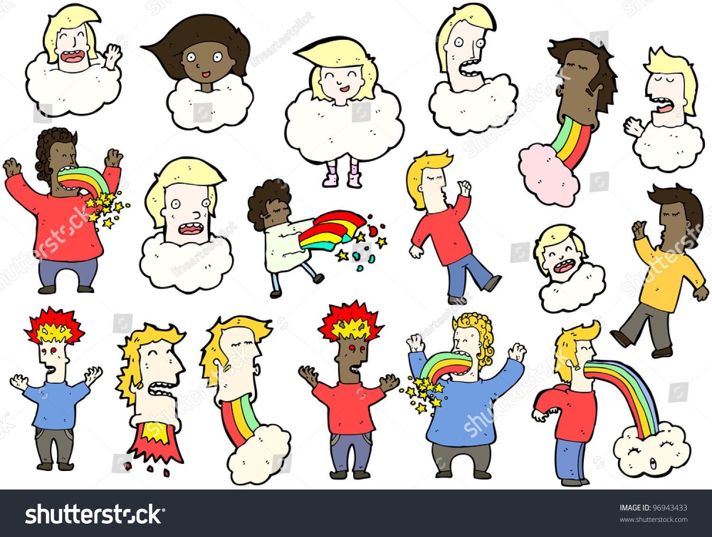 Crazy Hallucination People Cartoon Collection (Raster ...