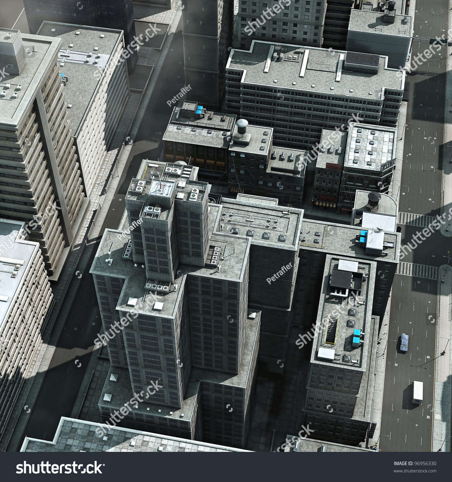 Urban View: Urban Rooftops, Aerial View Of A 3d City Render Stock
