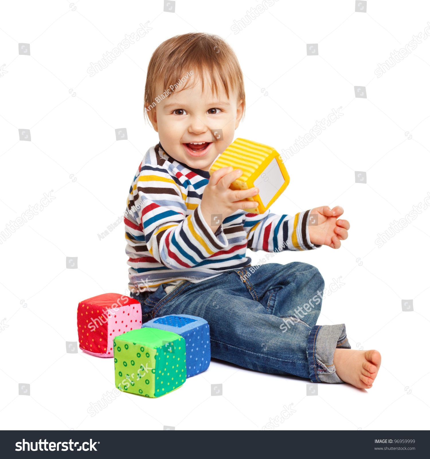 Adorable e Year Old Child Playing Stock