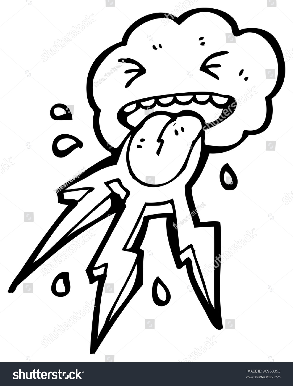 Cartoon Angry Storm Cloud Stock Illustration 96968393 ...