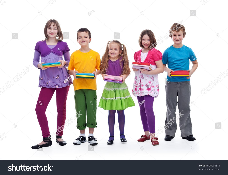 Group Of Happy Kids Preparing For School