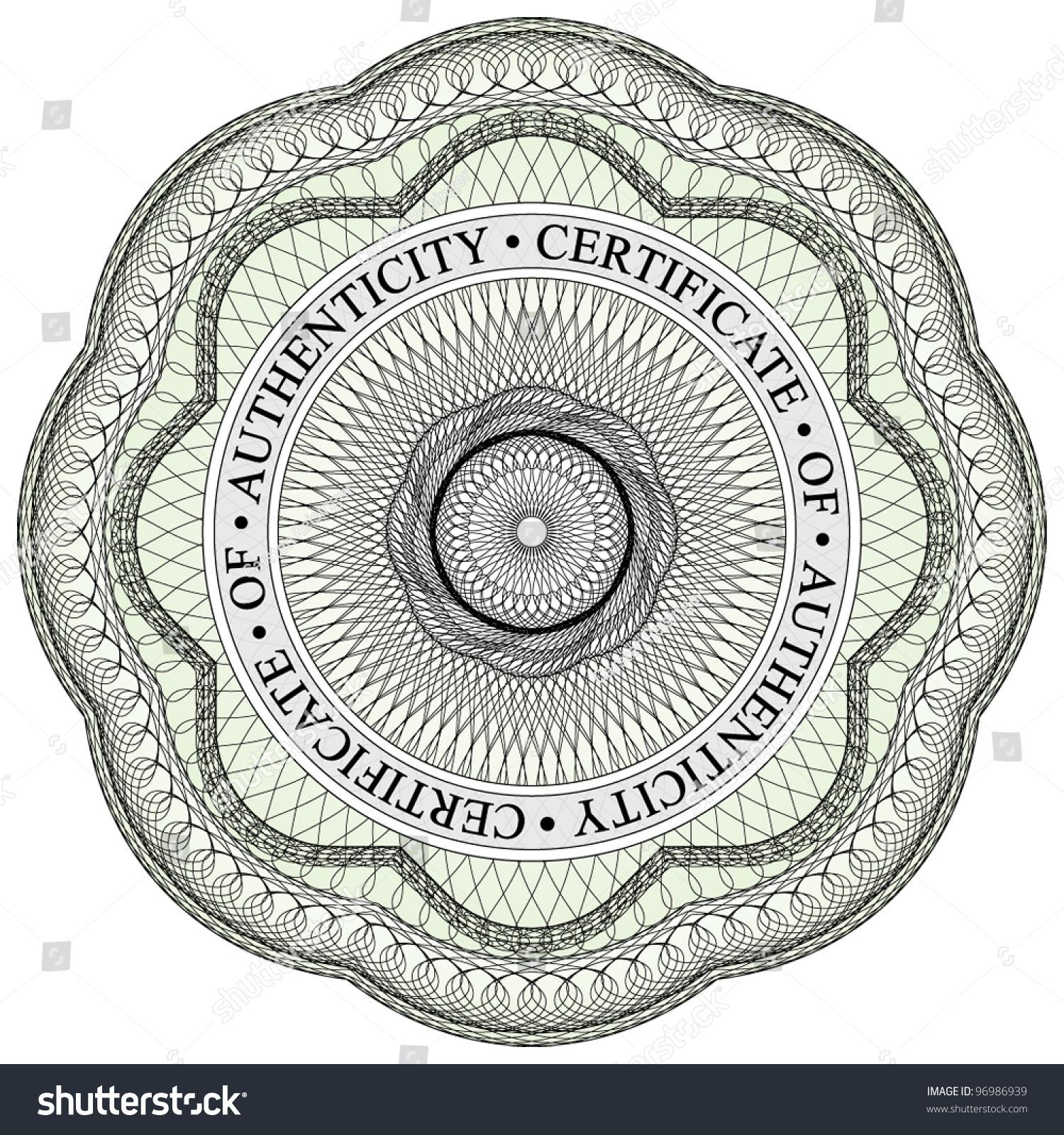 Guilloche Seal 1 Circular Text Stating Stock Vector 96986939 ...