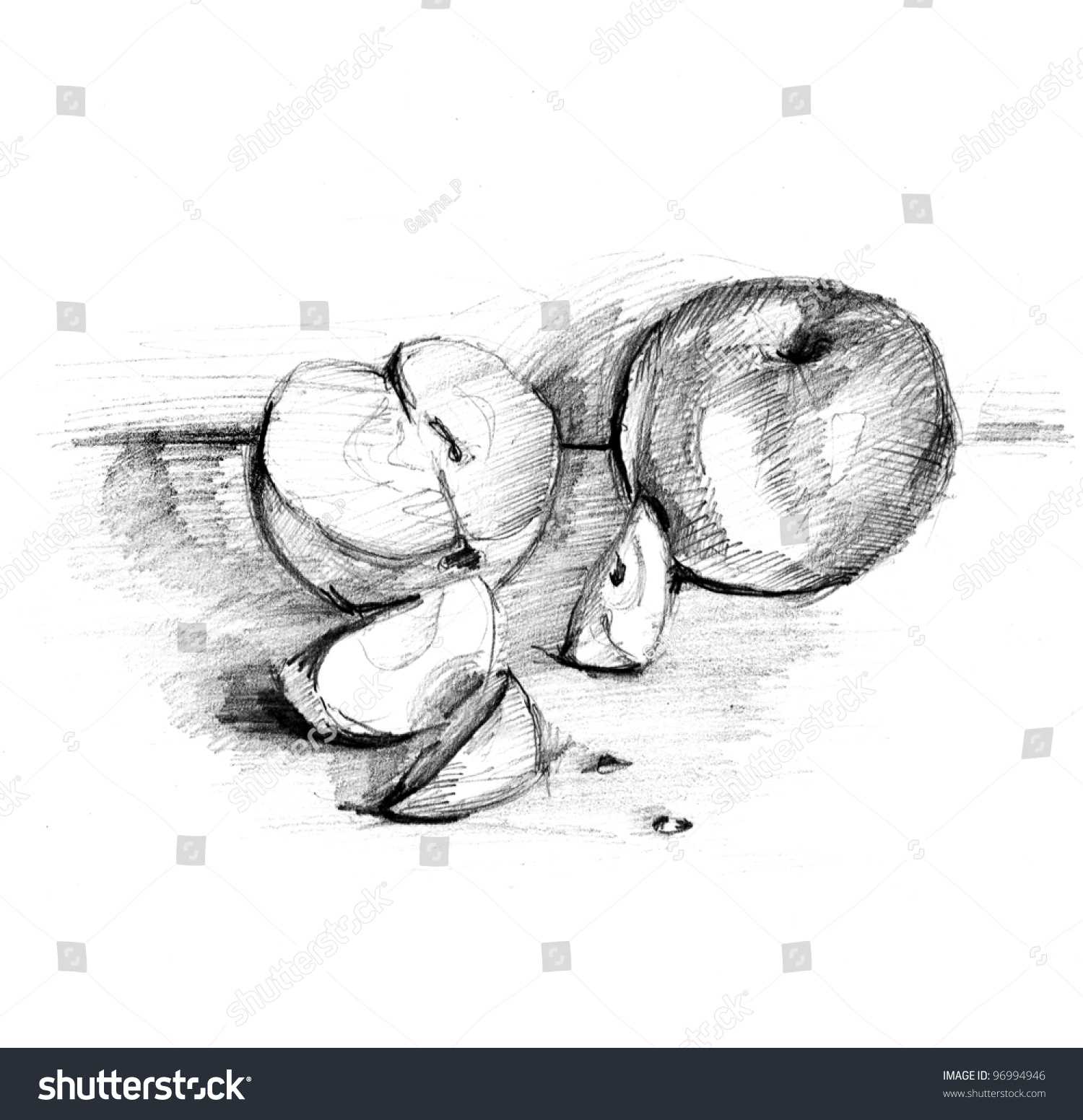 Handmade apple pencil draw lead pencil sketch of an apple healthy nutritious natural fruit