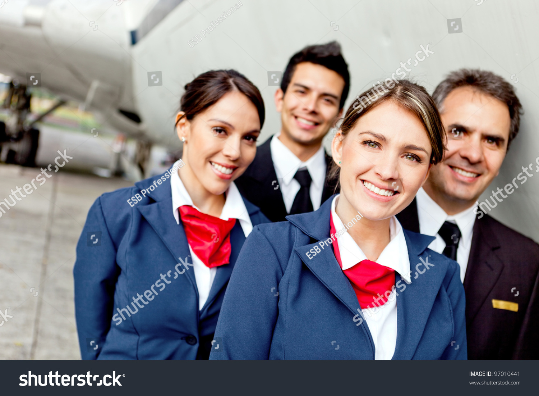 Cabin Crew Team Pilots Flight Attendants Stock Photo (Edit