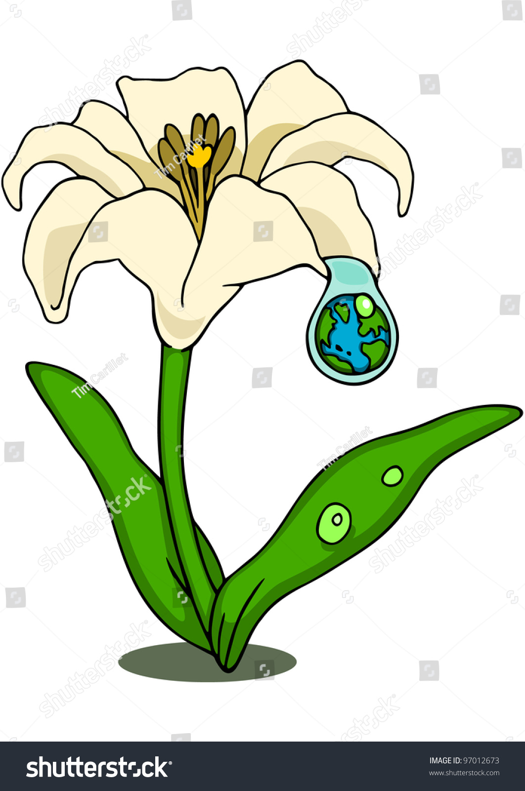 Lily flower droplet that reflects earth stock illustration 97012673 lily flower with a droplet that reflects the earth symbolizing hope or new life izmirmasajfo