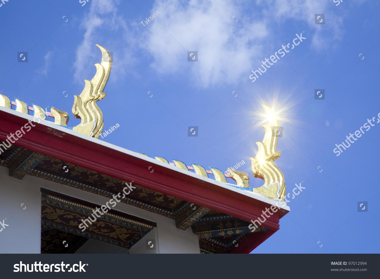 hang hong shining golden roof finials at wat pho bangkok thailand - Roof Finials