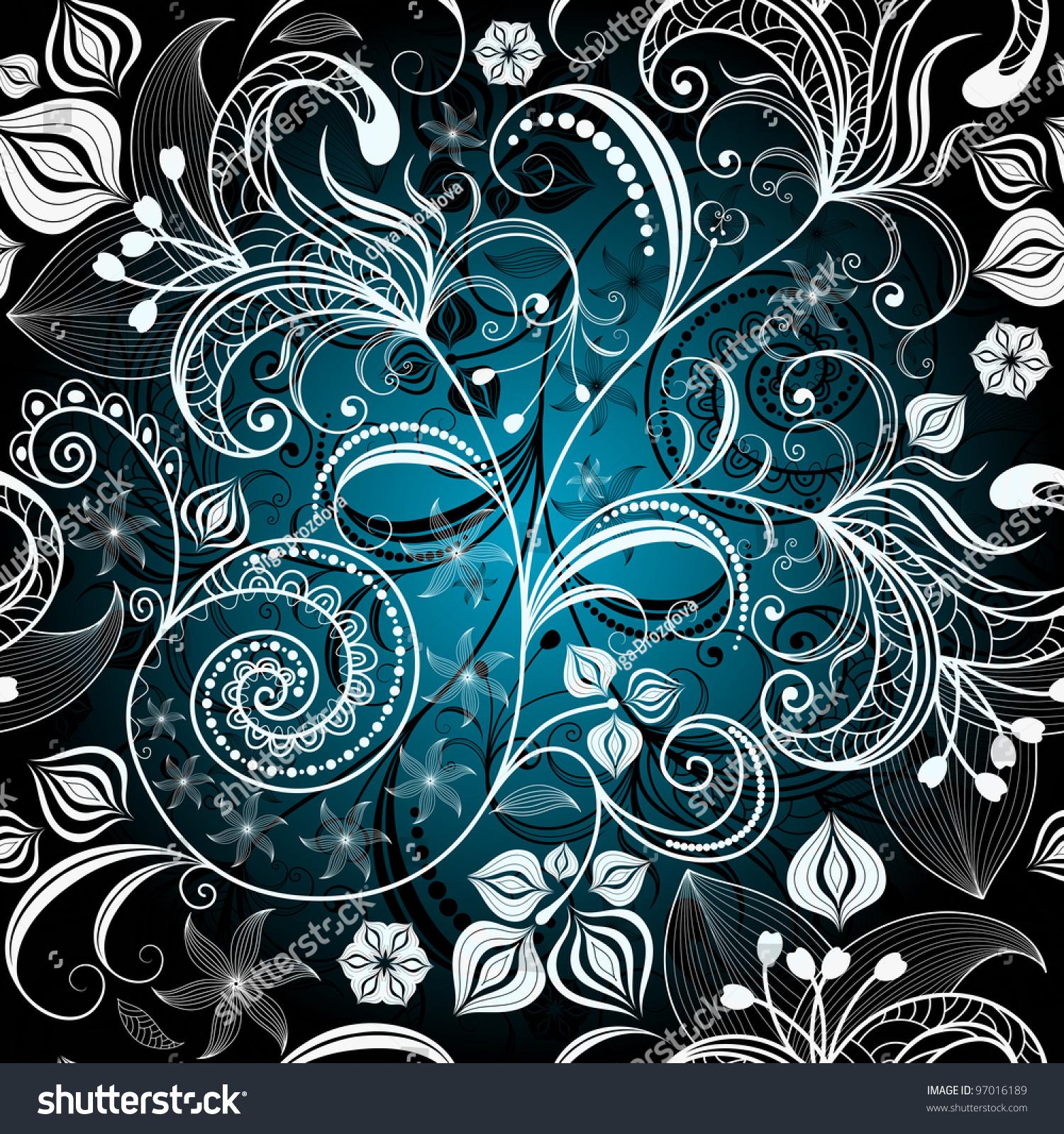 Download wallpapers black floral pattern, 4k, floral ...   Black Floral Vintage Pattern