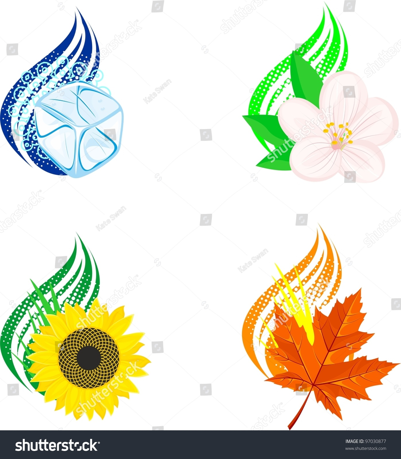 four seasons design elements stock vector 97030877