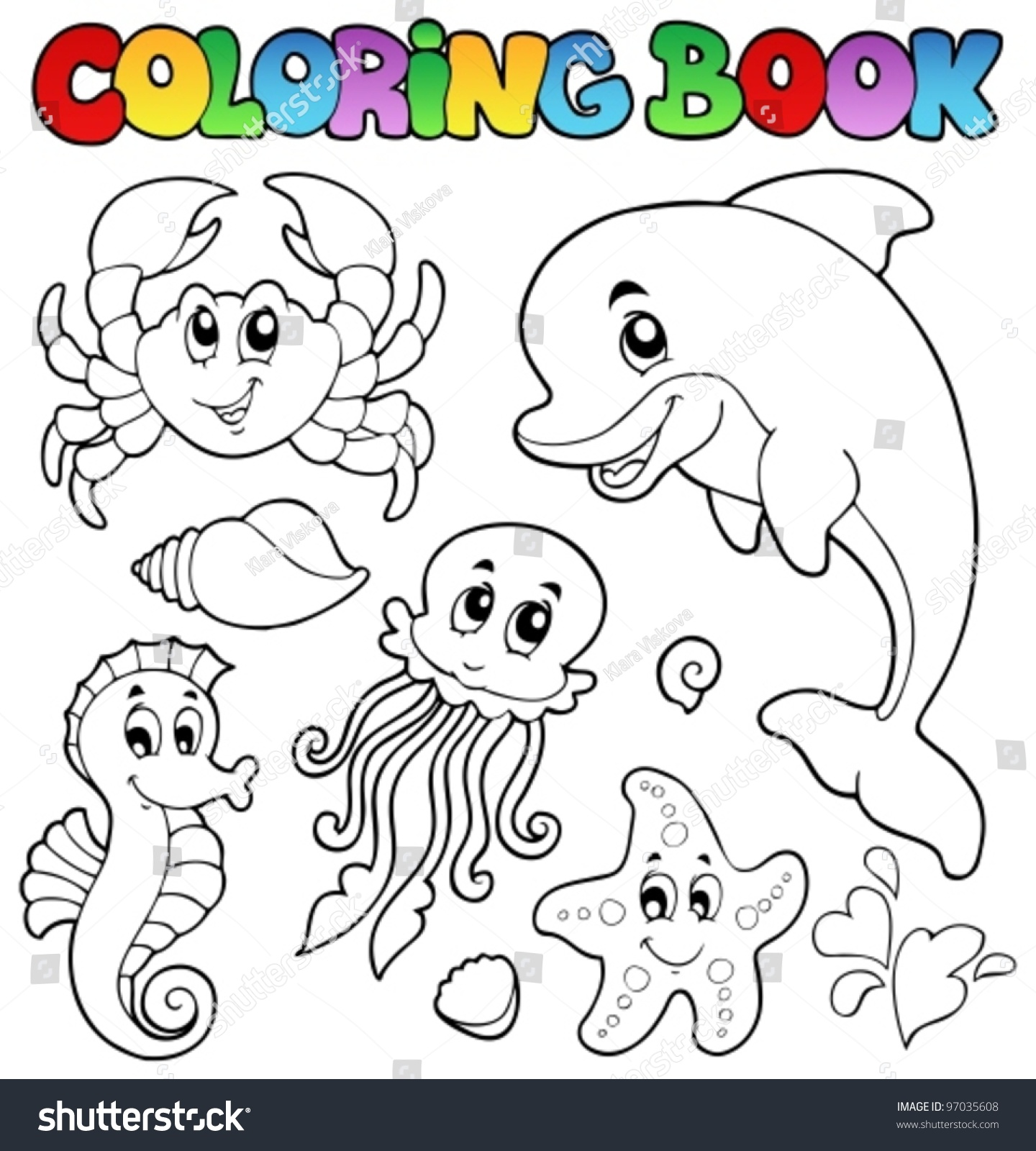 coloring book various sea animals 2 vector illustration