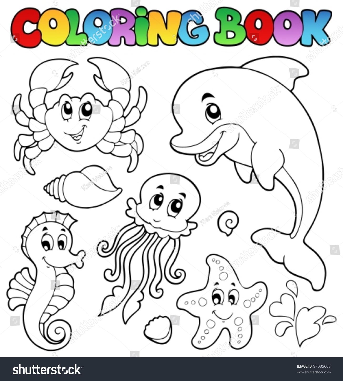 coloring book various sea animals 2 vector illustration