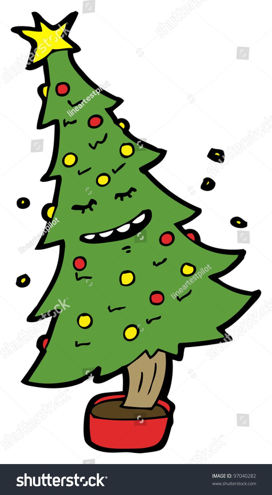 Dancing Christmas Tree Cartoon Stock Photo 97040282 ...