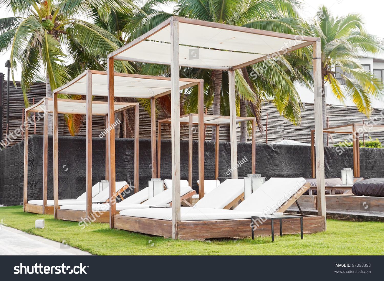 Modern Wooden Beach Pergola Gazebo Pavilion Stock Photo
