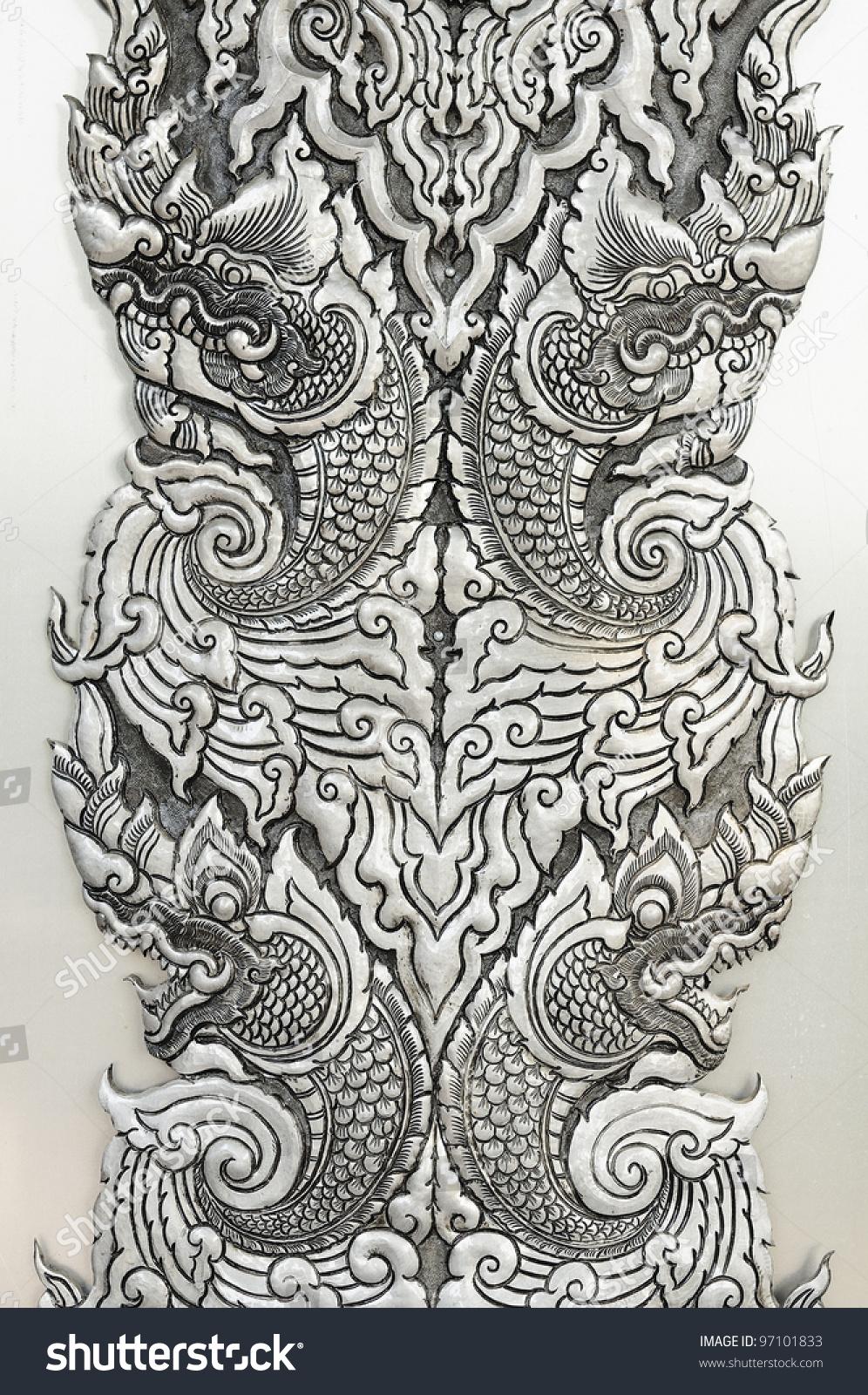 pattern decorative art of lanna thai engraving of the silver value - Decorative Art