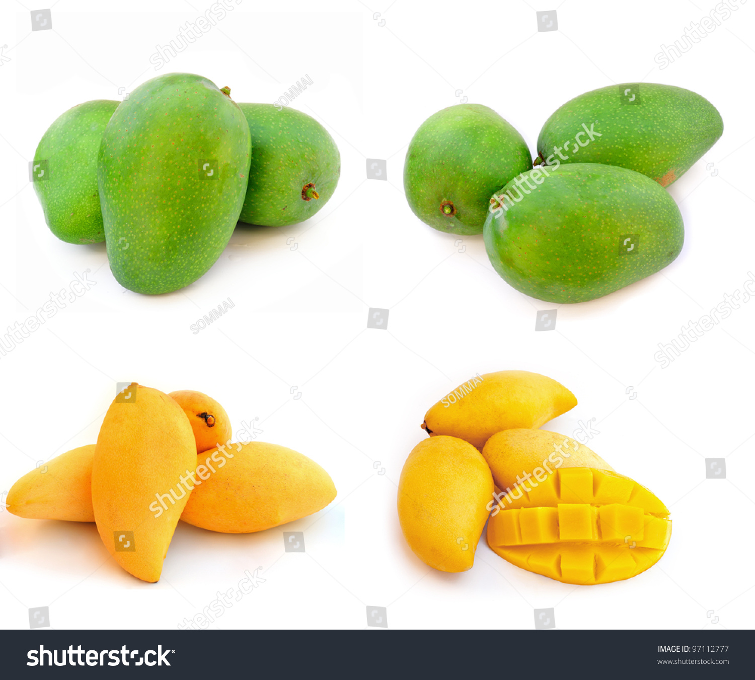 yellow and green mango isolated on a white background