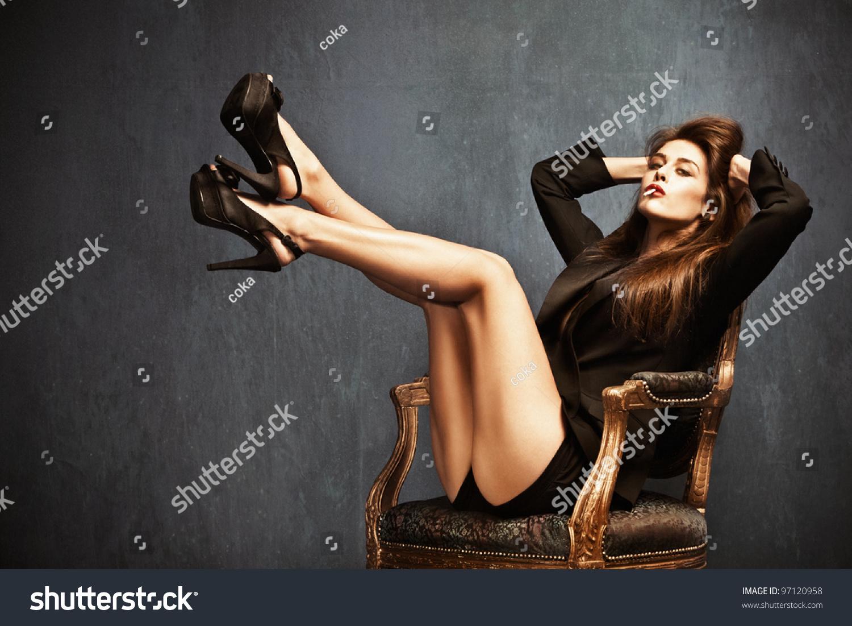 Attractive Woman High Heels Shorts Black Stock Photo 97120958 ...