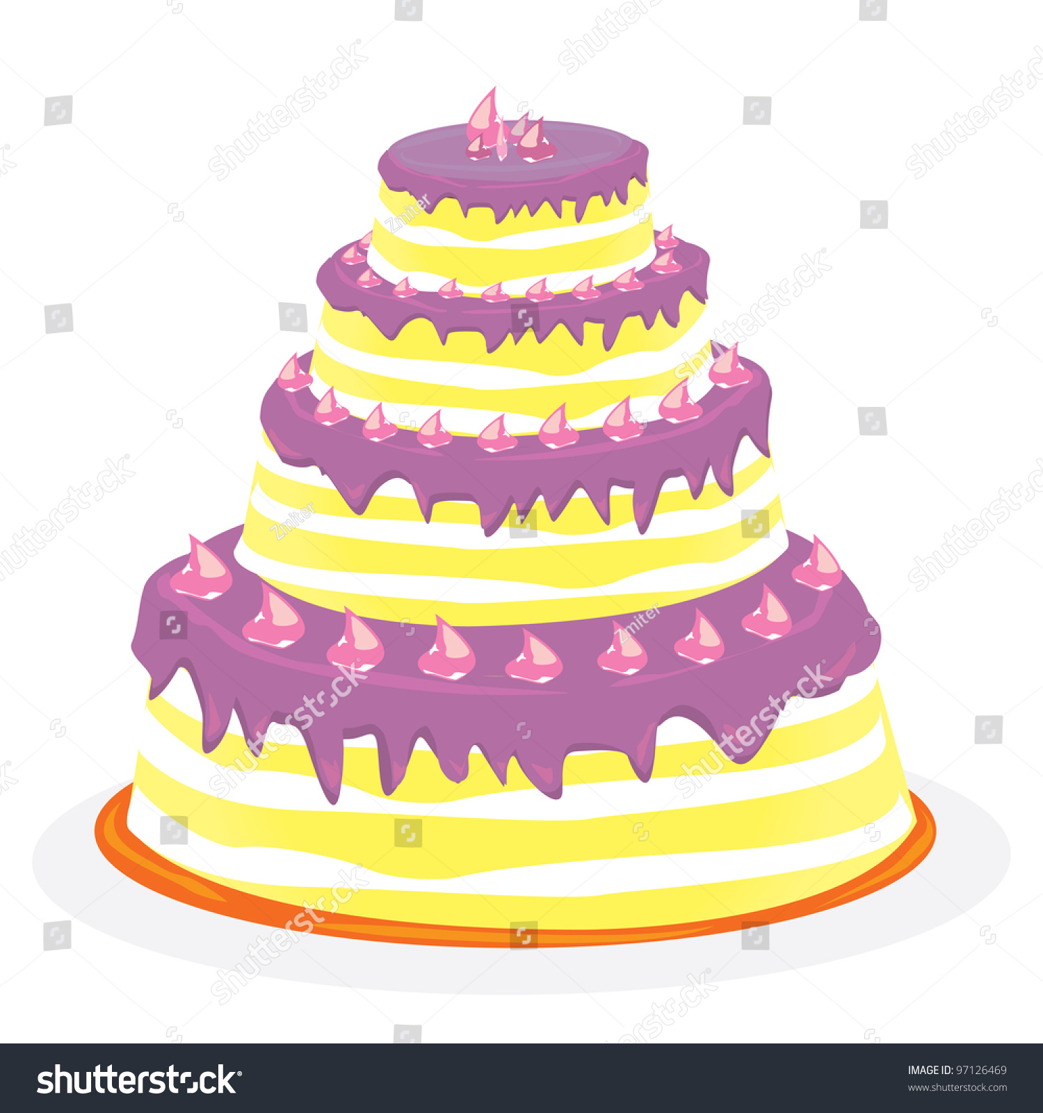 Flat vector festive wedding cake illustration. Objects isolated on ...