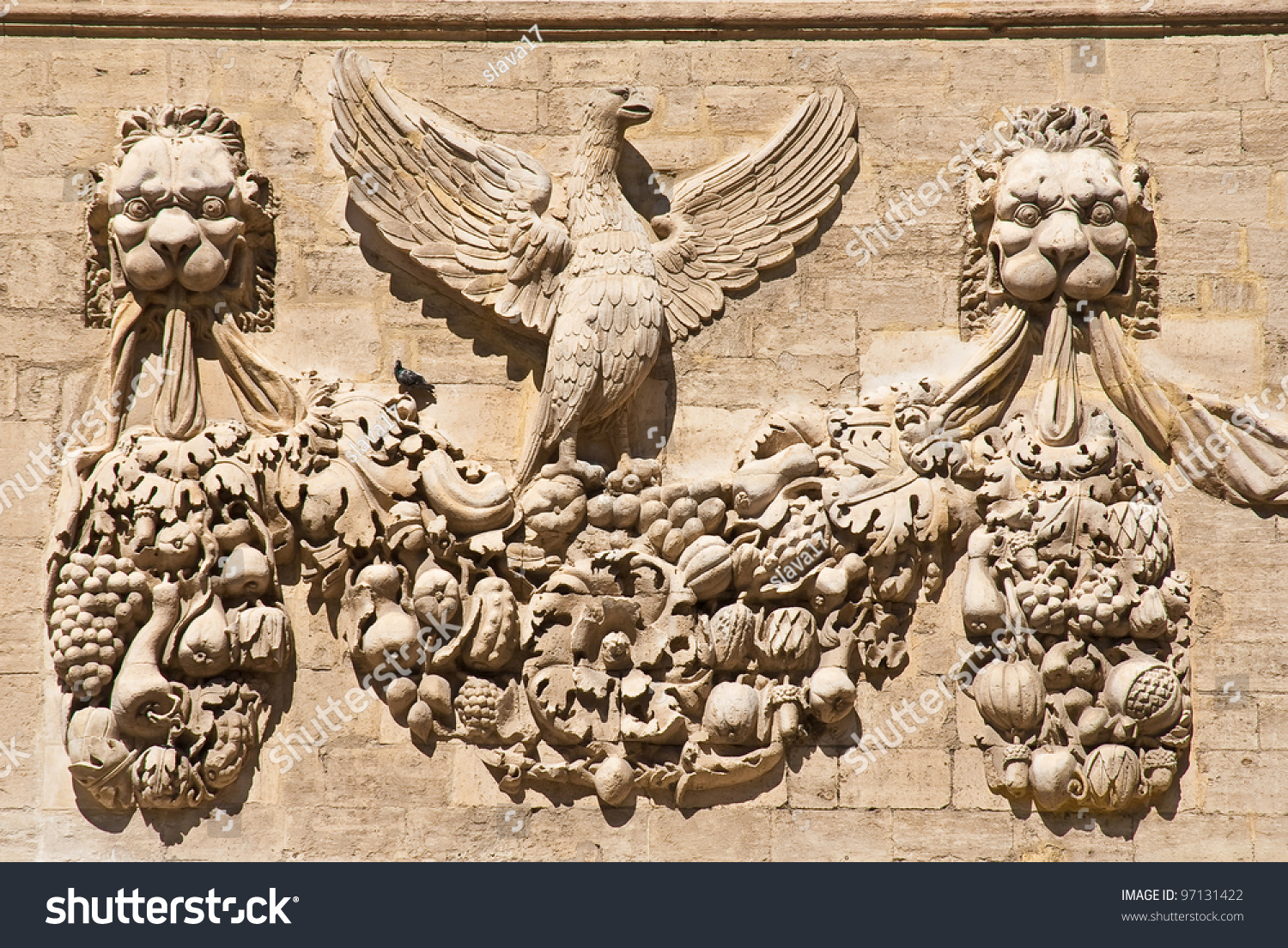 the bas relief on the wall on one of the buildings opposite the pope 39 s palace in avignon france. Black Bedroom Furniture Sets. Home Design Ideas