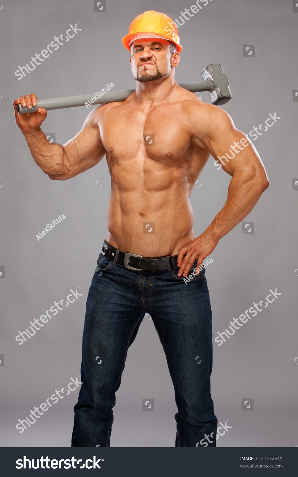 Young handsome builder sledgehammer sexy body stock photo Www builder