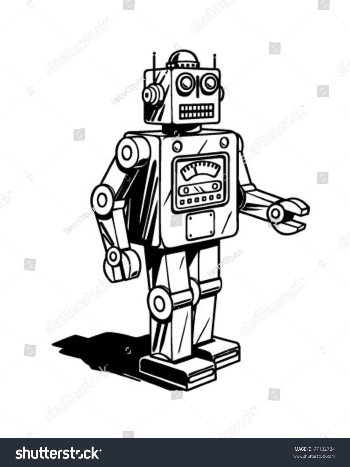 Retro Robot Clipart Illustration Stock Vector 97132724 - Shutterstock