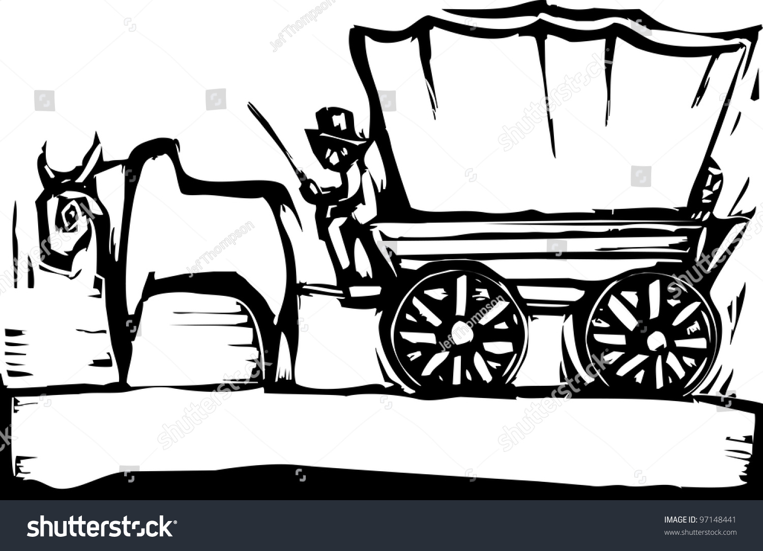 black and white covered wagon. western woodcut style image of a covered wagon and ox. black white