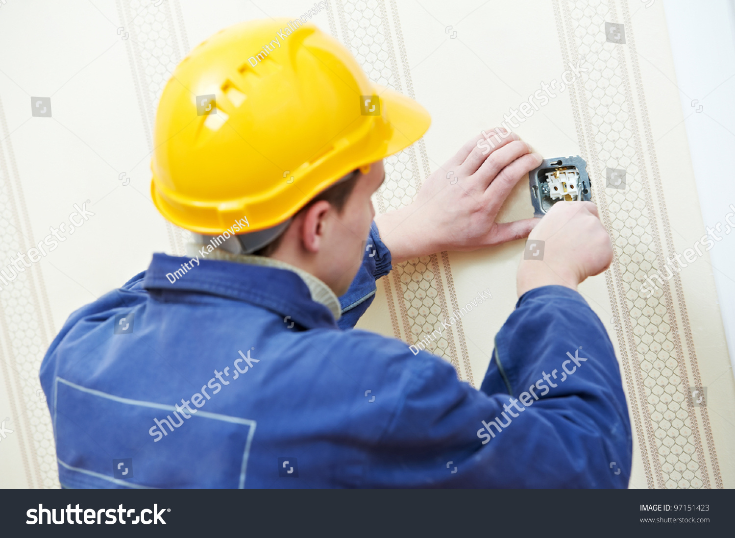 Two Electrician Workers Wiring Cable Light Stock Photo Edit Now Wall Outlets At And Switch Or Power Outlet Socket Installation Work