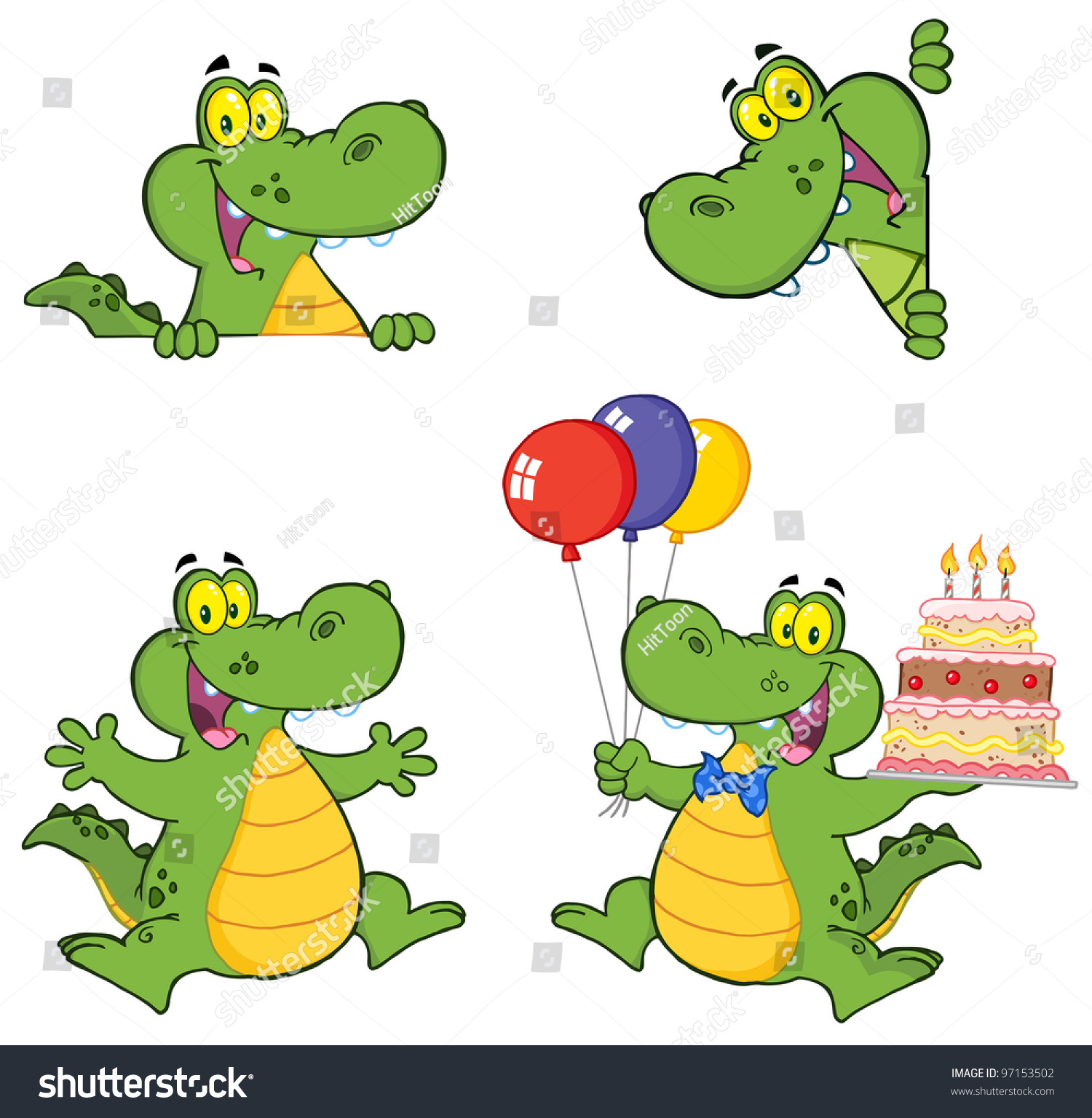crocodile cartoon characters vector collectionjpeg version