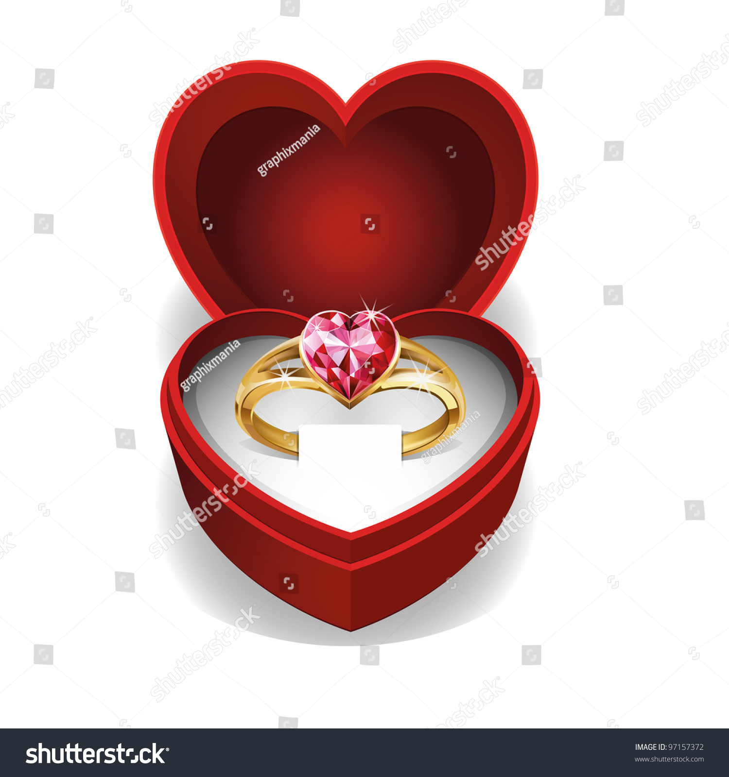 Gold ring pink heart gemstone red stock vector 97157372 for Heart ring box